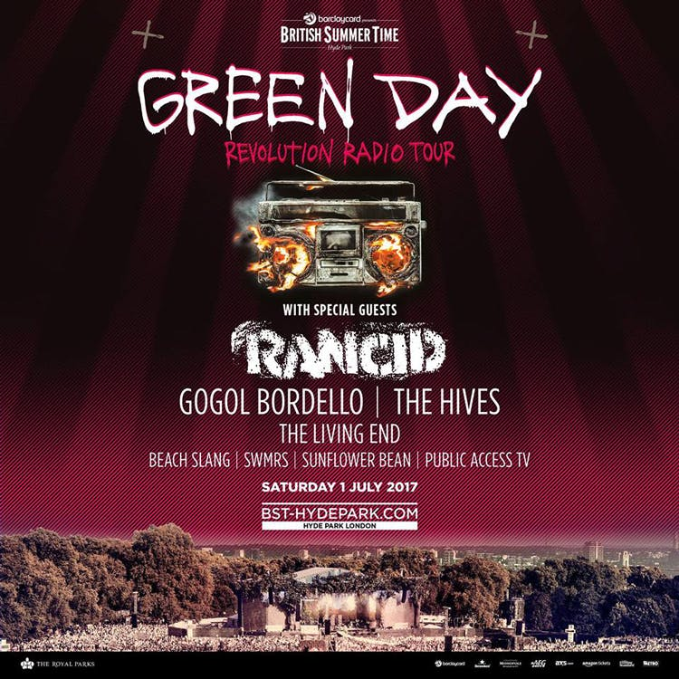 Green Day Announce BST Hyde Park Supports