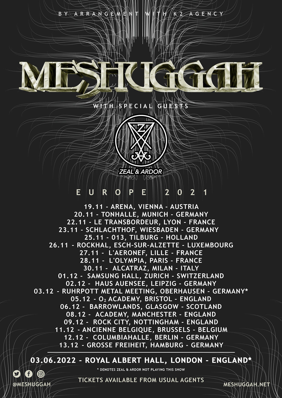 Meshuggah 2021 European tour