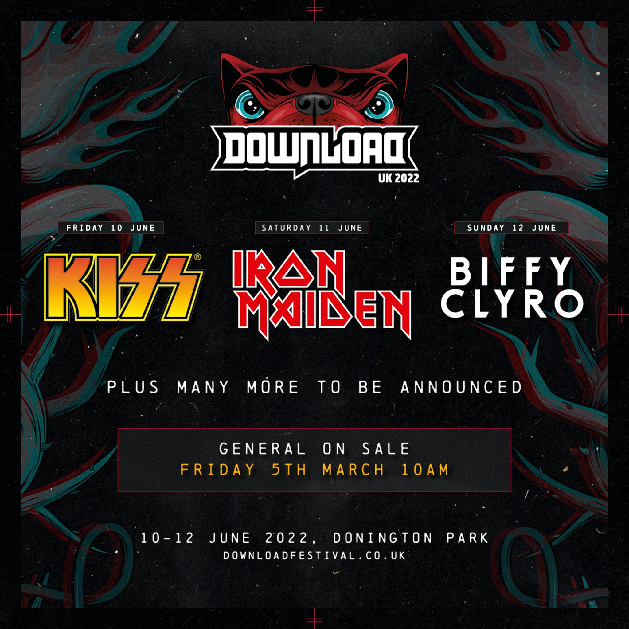 Download Festival 2022 Kiss Maiden Biffy line up