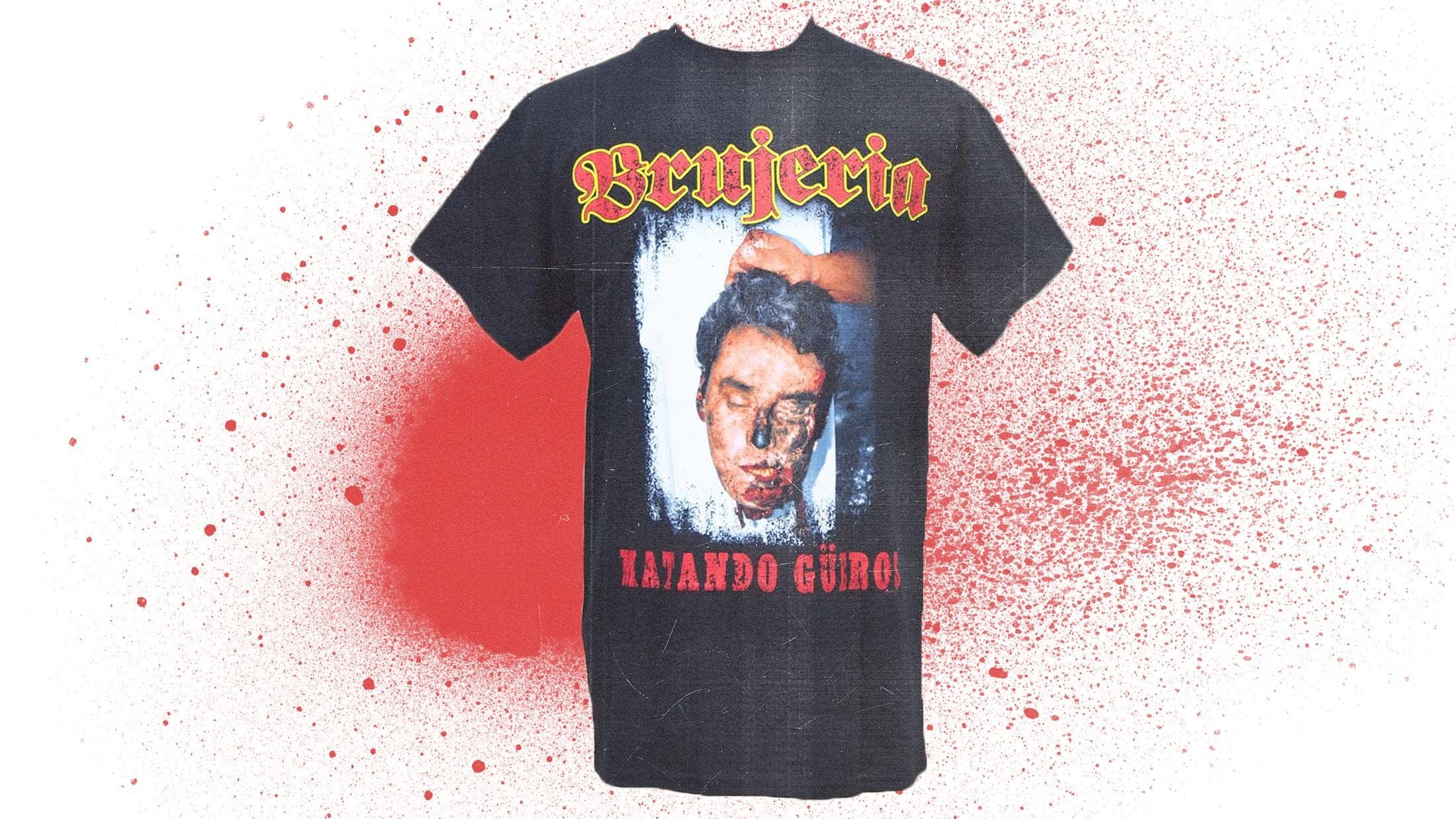 01f92f90 This shirt featuring the album artwork from Mexican-American metal band  Brujeria's 1993 debut record Mantando Güeros is one to avoid wearing if  you're ...