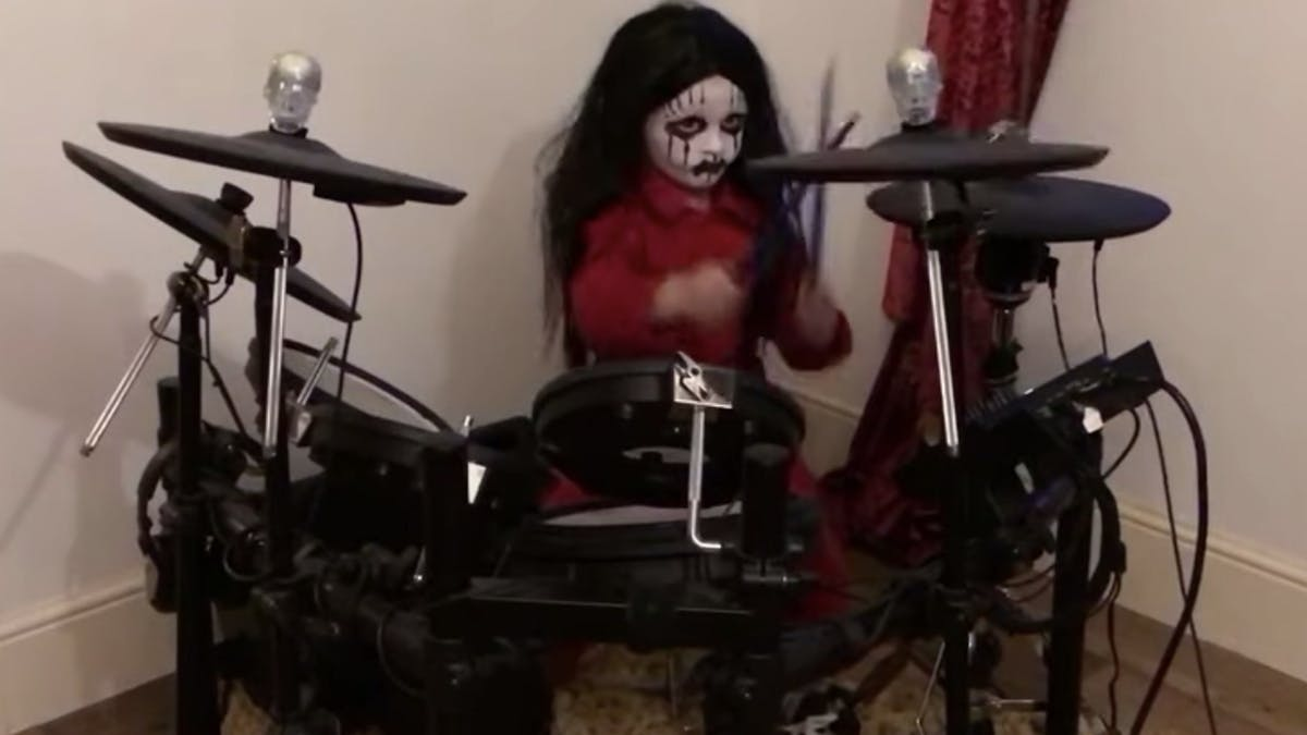 Here's That Viral 5-Year-Old Slipknot Drummer Performing Before I Forget Dressed As Joey Jordison