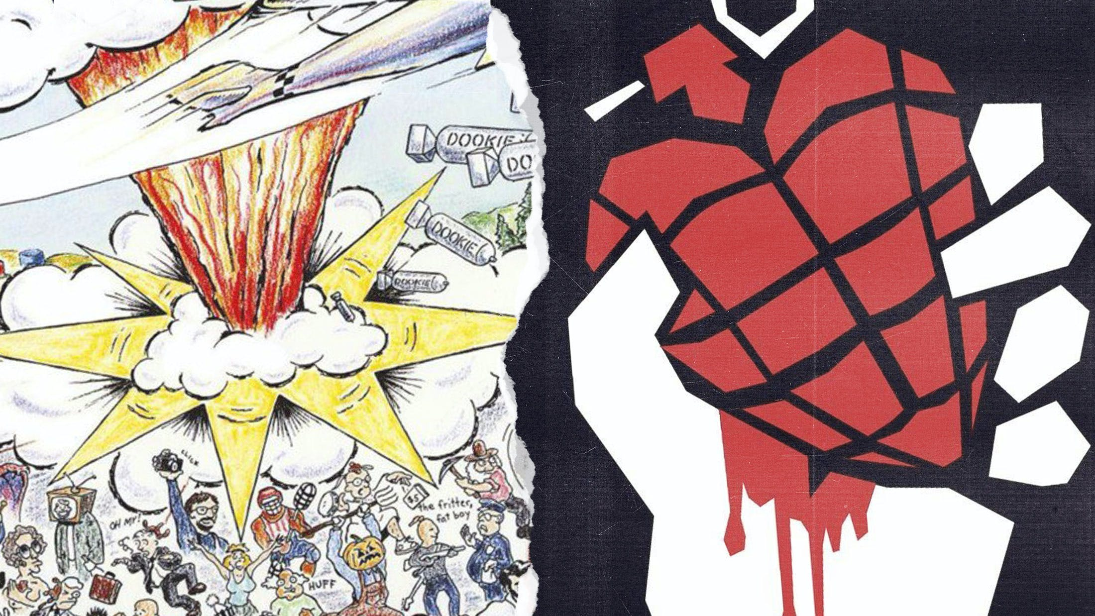 The album artwork for Green Day's Dookie and American Idiot