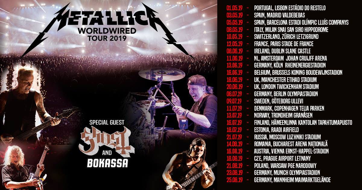 Metallica Worldwired Uk Euro 2019 Tour