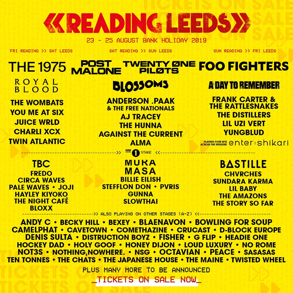 The line-up poster for Reading & Leeds 2019